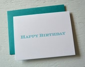SALE - Letterpress folded birthday card - teal green striped serif font