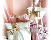 Wedding flower girl basket and ring bearer pillow, Tan accent color pillow and basket set.