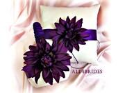 Weddings ring pillow and flower girl basket, deep purple weddings ceremony decor