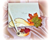 Wedding guest book \ Fall Leaves Wedding Guest Book \ Maple Leaves \ Burnt Orange \