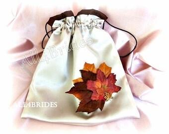 Wedding money dance bag, Fall leaf bridal drawstring bag, Champagne and Chocolate Brown fall leaves wedding accessories