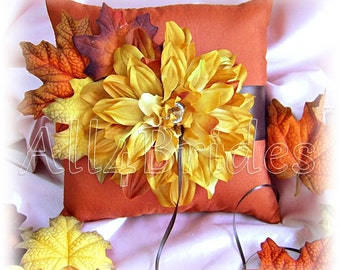 Fall leaves ring bearer pillow, persimmon and chocolate brown satin ring pillow