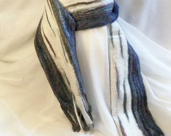 Felted Wool Scarf - Merino  - Grey Blue and White - Extra Long Scarf - Gift for Her - Felting - Winter Scarf