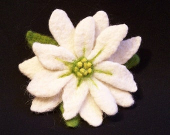 Needle Felted Flower Pin Brooch - White Poinsettia