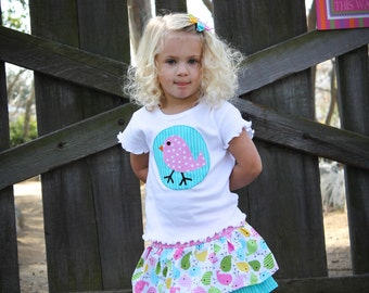 READY TO SHIP - 6/7 Girls Easter Outfit - Easter Shirt - Toddler Outfit - Girls Clothes - Chick Shirt - Toddler Girl's Clothes