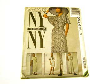 McCalls 5944 Dress Classic Kentucky Derby Style Short Angel Sleeves Pattern Size 12