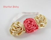Cream and Coral Triple Ribbon Rouched Rolled Rose Headband Match Up with Any Sassy Pants Ruffled Bloomer Color