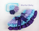 Headband Triple Ribbon Rose Classic Style Sassy Pants Ruffle Diaper Cover Panty Aqua Lavender and Violet