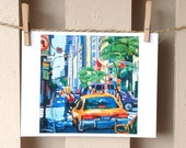 On Sale. NYC Painting Art Wall Decor Cab At Red Light City Urban Square Print  8x8, taxi New York City Painting Cityscape by Gwen Meyerson