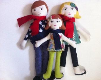 Custom Cloth Doll Family of Three