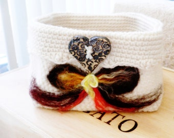 Heart And Bow...Basket...Crocheted