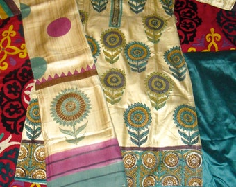Vintage Hand Painted Indian Shalwar Kameez set, Sunflowers on Tussar Silk on the Kameez and Dupatta