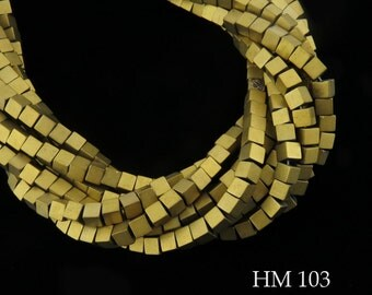 4mm Matte Gold Hematite Cube Beads Gold Tone Matte Finish 4mm x 4mm (HM 103) 60 pcs BlueEchoBeads
