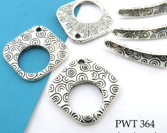 19mm Large Square Pewter Clasp with Spirals Toggle, Antiqued Silver (PWT 364) 3 sets BlueEchoBeads