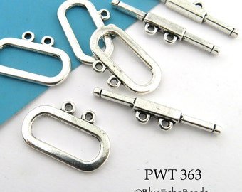 21mm Smooth Oval Pewter Toggle Clasp Double Strand Toggle (PWT 363) 6 sets BlueEchoBeads