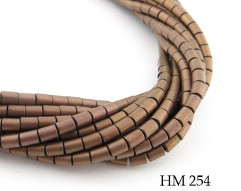 "2mm Semi Matte Copper Hematite Tube Beads, Semi Matte Finish (HM 254) 16"" Strand BlueEchoBeads"