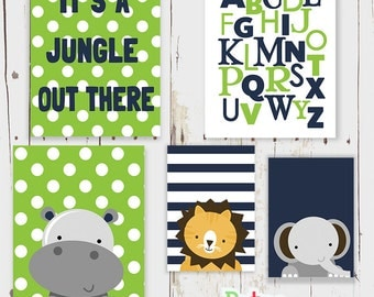 Jungle Monkey Art Nursery Art Alphabet  Print Set Boy Room Decor