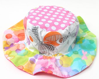 Sun hat for toddlers, cute and girly, wide brim sun protection, pink with dragonflies