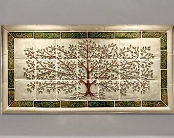 "18x35"" Ceramic tile tree mural for installation"
