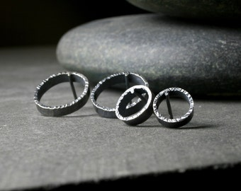 hammered edge textured sterling silver open hoop circle post earrings bright and oxidized - 2 sizes available