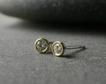 Tiny bezel set 18k yellow gold and round brilliant cut moissanite stud earrings 3mm quarter carat