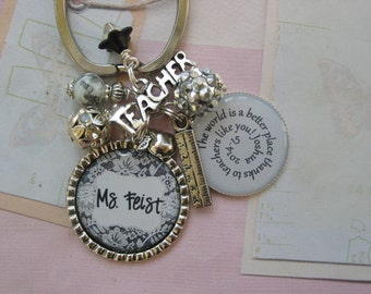 Personalized Black and white lace Teachers' keychain, end of year gifts