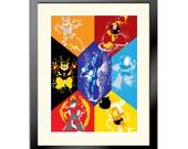 Splattery Robot Masters of Mega Man 1 Poster