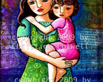 "Mother and Daughter Instant Download 8"" X 10""  printable art from original mixed media contemporary raw folk art"