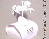 "Horse Printable PATTERN favor BOX Carousel Horse 2"" x 2-1/4"" x3""High, Make as many as you like -item 8055Pattern"