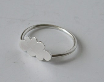 Little Silver Cloud Ring, Cloud Jewelry, Rain Cloud, Modern Jewelry, Silhouette Jewelry, Cloud Shape, Sterling Silver Ring, Silver Jewelry