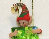 Christmas Elf Polymer Clay Ornament Magnetic