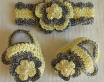 Crochet Baby Girl Handmade,Headband, Booties, photo prop, 10011 MADE TO ORDER