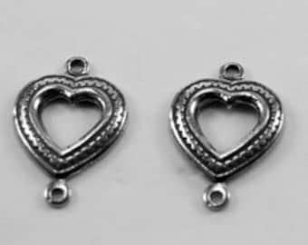 Heart Joiner - pair - 1 bail each, Australian Pewter.   Z068