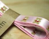 Pink Teddy Bear Satin Ribbon / 9 mm wide 175 cm long