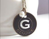 ON SALE G is for Genuine - Initial G Necklace in Antique Brass