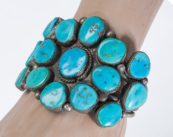 Large Navajo Cluster Bracelet - Blue Sleeping Beauty Turquoise - 60s Dead Pawn - 109g