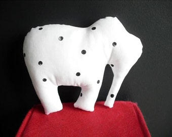 white stuffed elephant with black dots - handprinted fabric