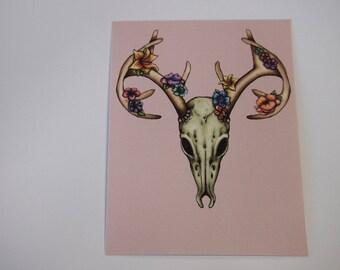 Illustrated Floral Stag Skull Postcard