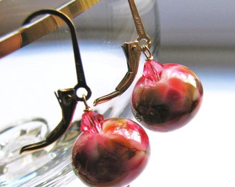 MOTHERS Day SALE, Rosy Pink Lampwork Earrings, Amber Brown Spots, Swarovski Crystal, Gold Filled Leverback Earrings, Ready To Ship