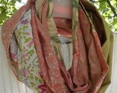 Infinity scarf, women's silk circle loop long woven multicolor fiber art fashion peach white green cotton Boho hipster Lhasa Expedition i315