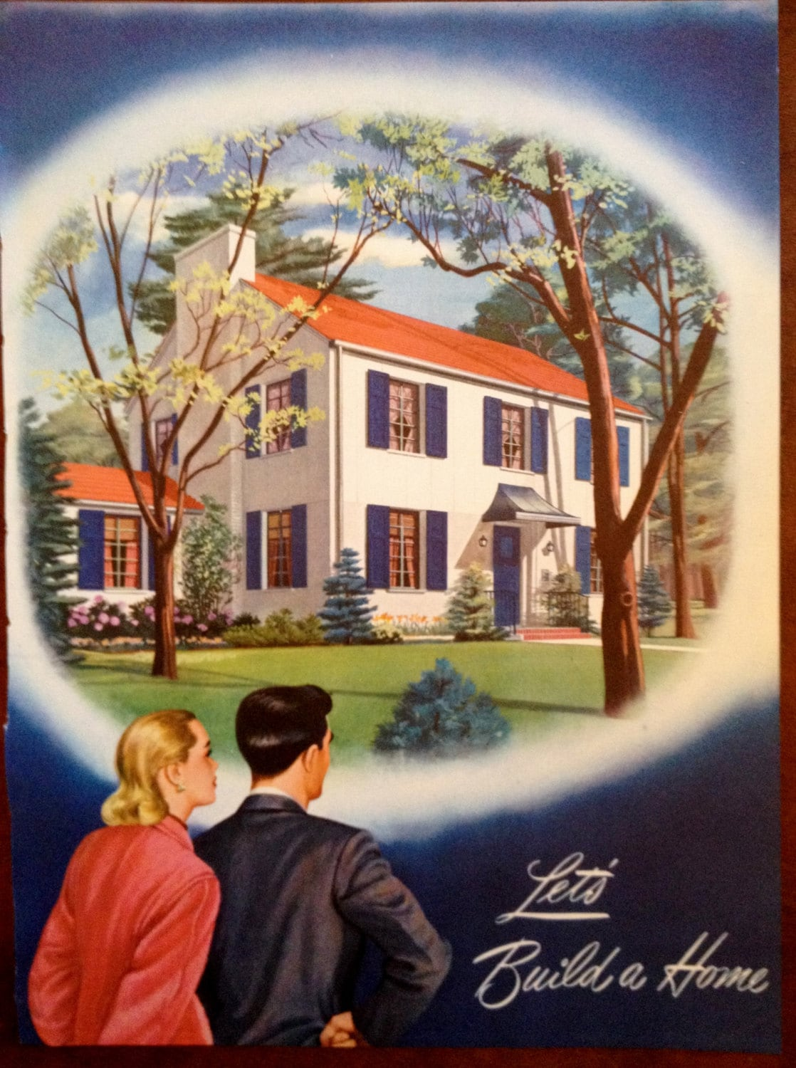 Couple Stand Outside Dream House 1945 Let's Build a Home