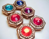 Vintage Gold Rainbow Button Covers Set of 6