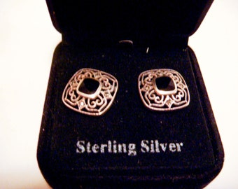 Vintage Sterling Silver Square Earrings with Rhinestones and Black Enamel