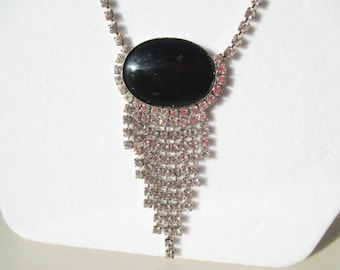 Gorgeous Rhinestone Silver Necklace with Black Stone Vintage Antique Flapper Style