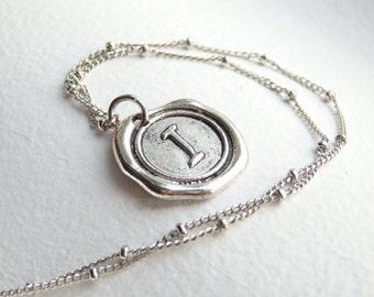 Antique Silver Wax Seal - I - Monogram Necklace