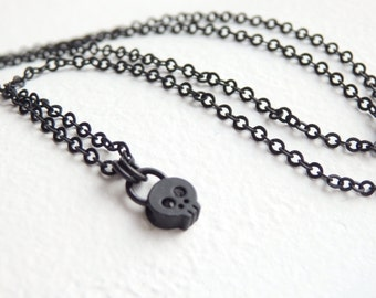 Black Little Skull Necklace