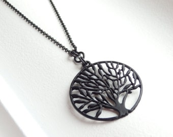 Tree of Life Matte Black Long Necklace