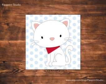 INSTANT PRINTABLE White Cat and Kitten Nursery Art (12x12)