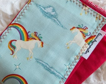 Baby burp cloth - Red unicorns and rainbows hand dyed burp cloth