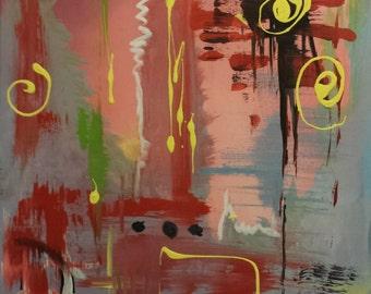 Original Art Abstract Painting Modern Art Bold Wall Art - The City After Dark 16 x 20